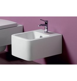 Simas Simas FL64 Wall Hung Bidet With Single Faucet Hole White Glossy