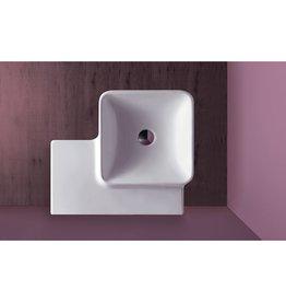 Simas Simas FL21 Flow 23 Square Wall Hung Wash Basin With Right Shelf White Glossy