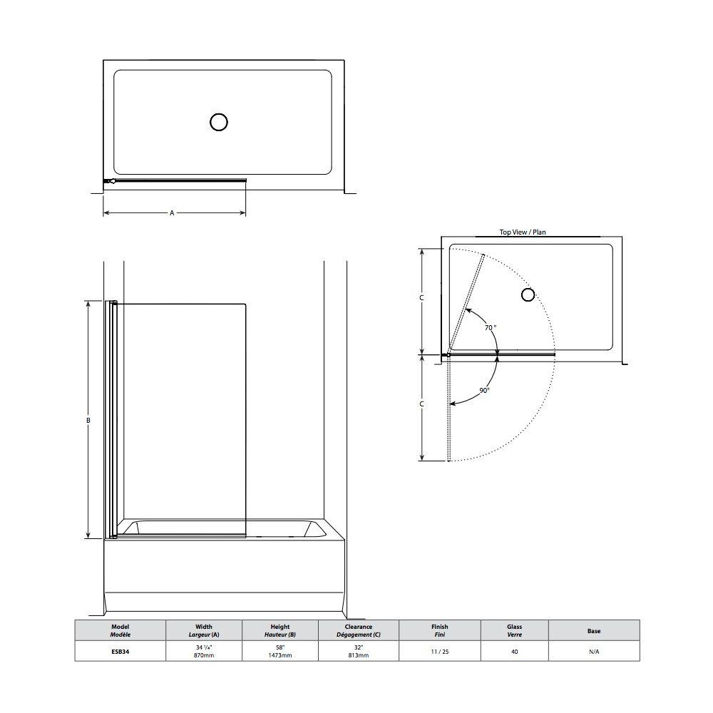 Fleurco ESB34 Siena Solo Tub Panel 58 Chrome - Home Comfort Centre