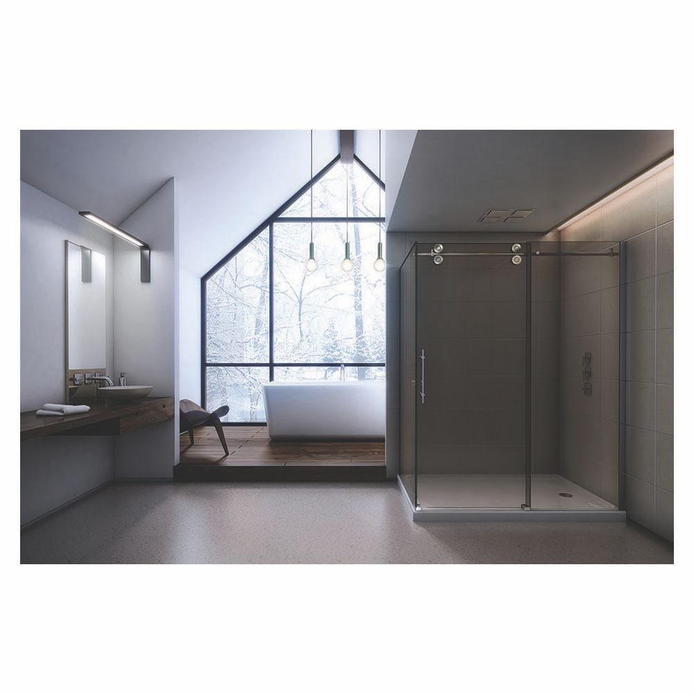 Slik MTX-4840 48 Matrix Corner Shower Door Small Clear Glass Chrome ...