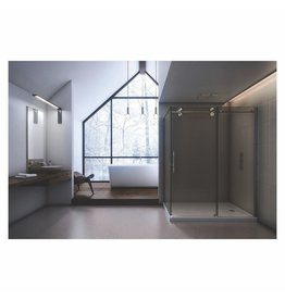 SLIK Slik MTX-6040 60 Matrix Corner Shower Door Large Clear Glass Chrome