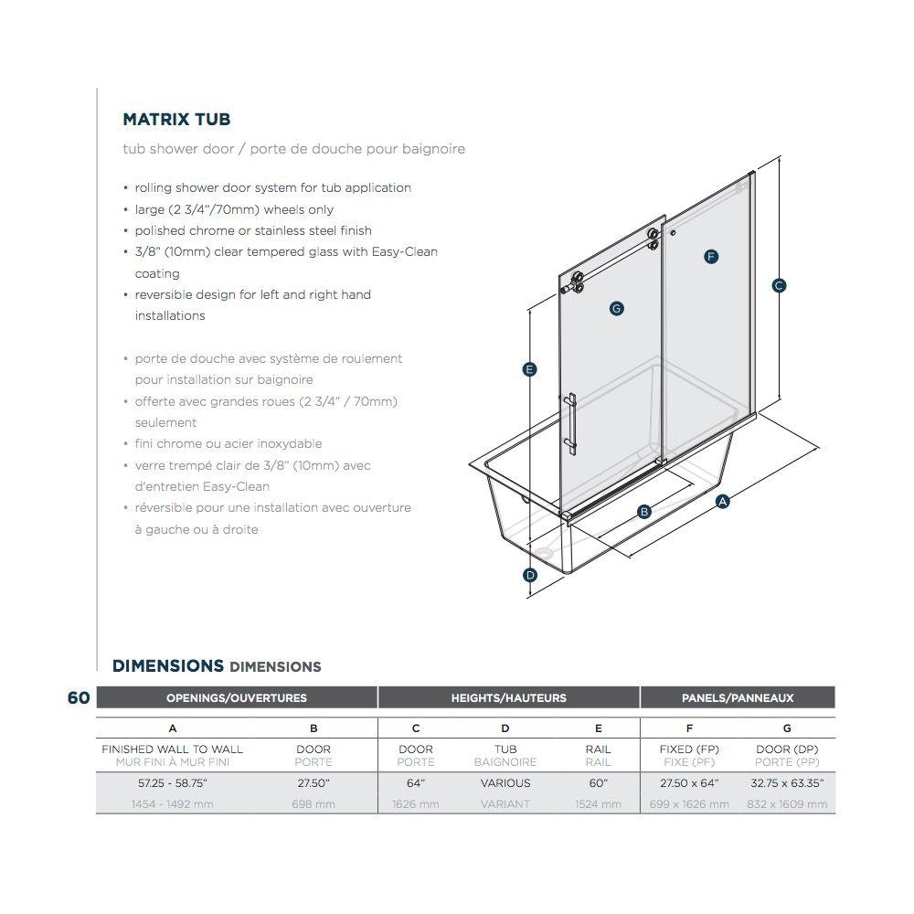 SLIK Slik MTX-60T 60 Matrix Tub Shower Door Clear Glass Stainless Steel