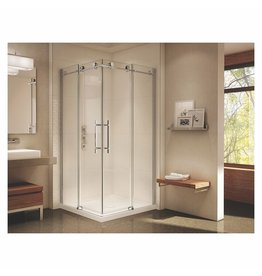 SLIK Slik MTX-4040 40 Matrix Square Shower Door Smoked Glass Polished Chrome