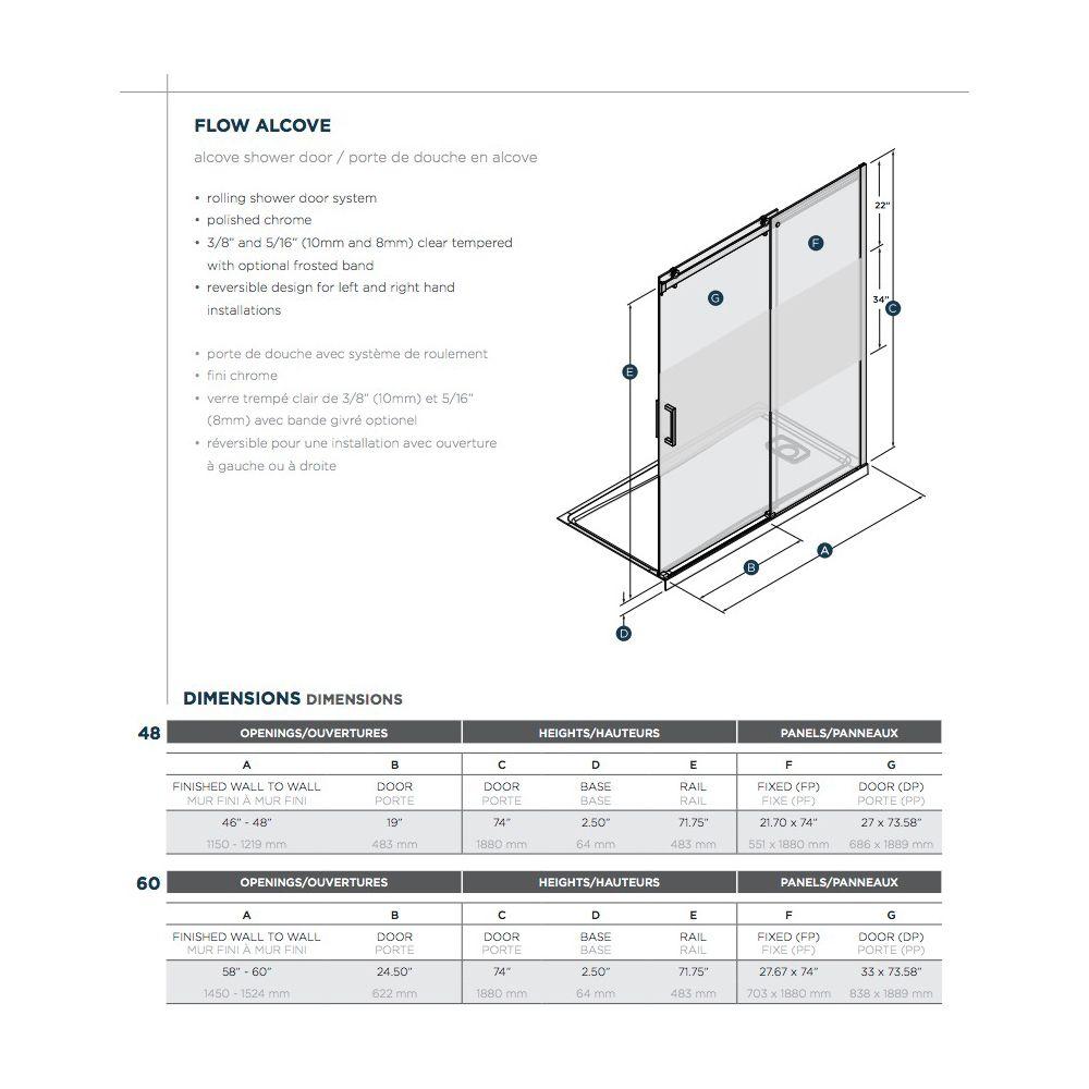 SLIK Slik FLOW-48 48 Flow Alcove Shower Door Frosted Glass Chrome