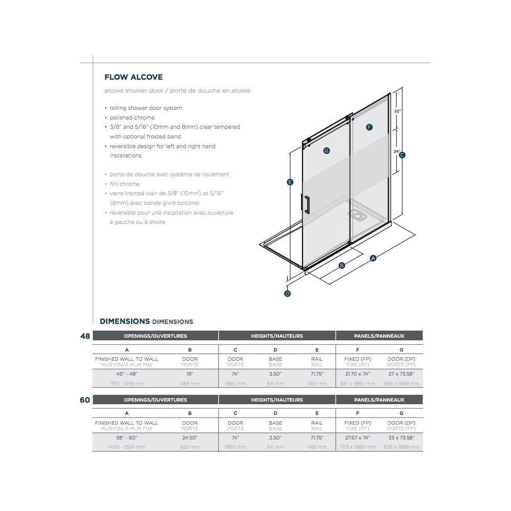 SLIK Slik FLOW-60 60 Flow Alcove Shower Door Clear Glass Chrome