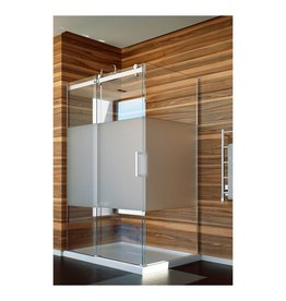 SLIK Slik FLOW-6034 60 Flow Corner Shower Door Frosted Glass Chrome