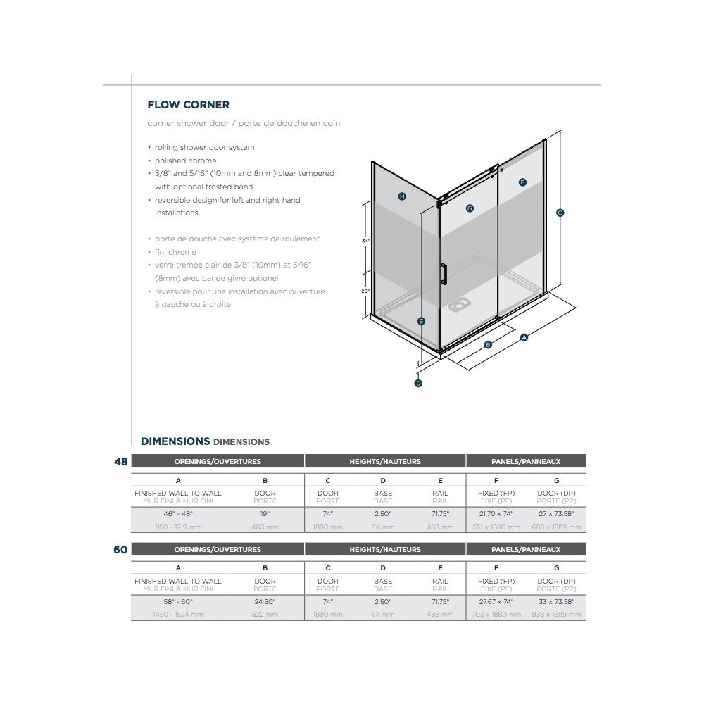 SLIK Slik FLOW-6036 60 Flow Corner Shower Door Clear Glass Chrome
