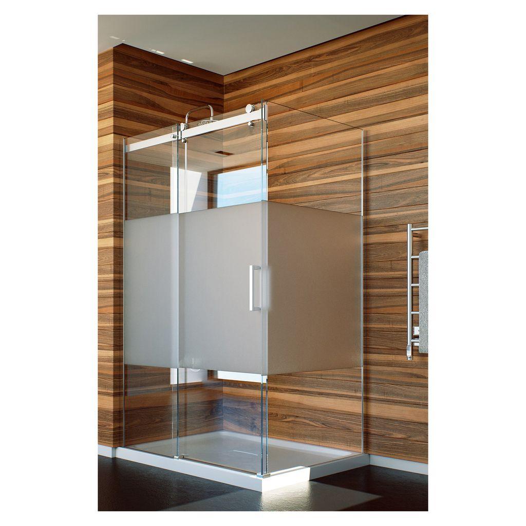 SLIK Slik FLOW-6036 60 Flow Corner Shower Door Frosted Glass Chrome