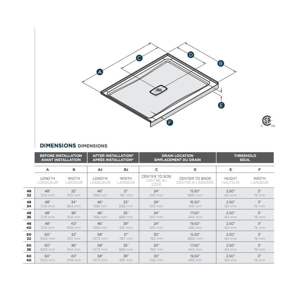 SLIK Slik A48SB40 Soho 48 Acrylic Shower Base With Center Drain White