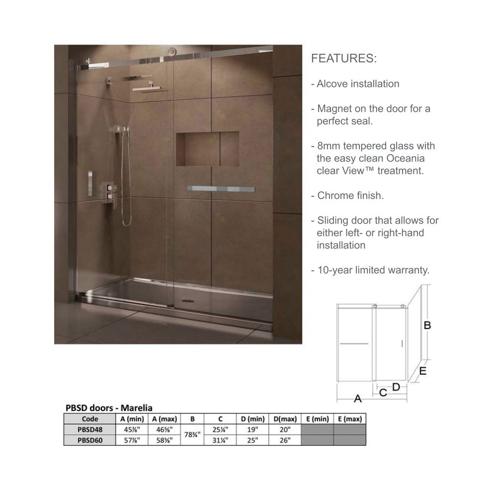 Oceania PBSD60 Marelia PBSD 60 Glass Showers Black - Home Comfort Centre