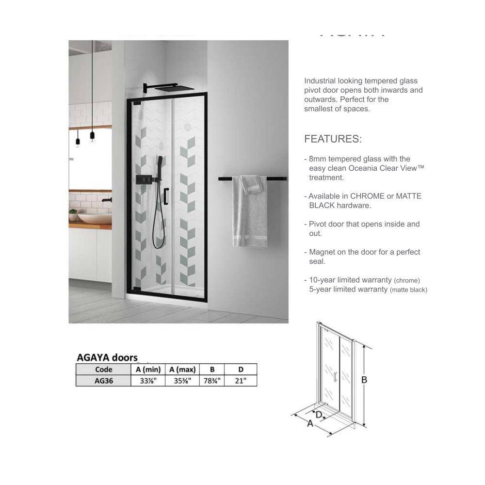 Oceania Ag36 Agaya Ag36 Glass Shower Door Black Home Comfort Centre