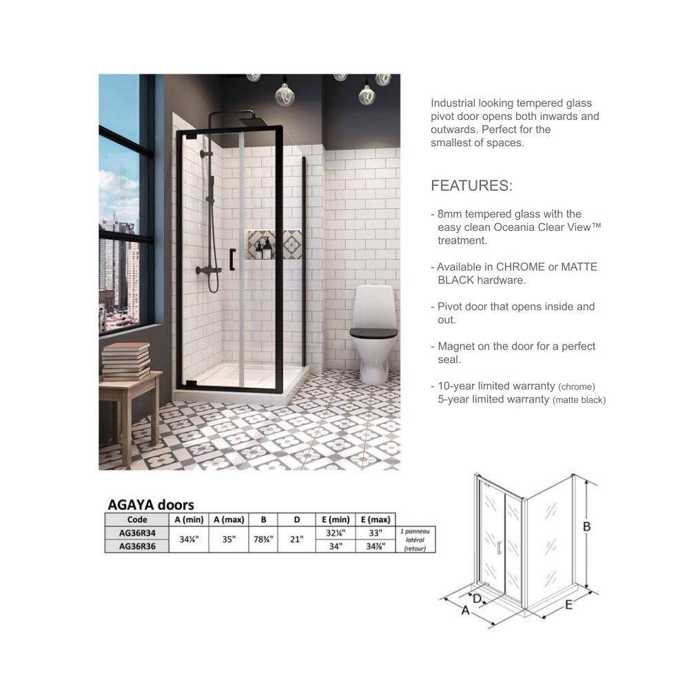 Oceania Ag36r34 Agaya Glass Shower Door Black Home Comfort Centre