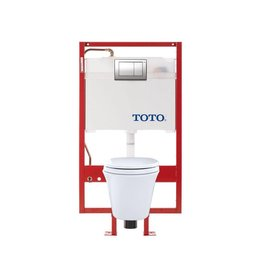 Toto TOTO CWT486MFG Maris Wall Hung Elongated Toilet DUOFIT In Wall Tank System Copper Supply White
