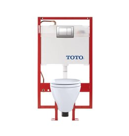 Toto TOTO CWT418MFG Aquia Wall Hung Elongated Toilet DUOFIT In Wall Tank System Copper Supply White