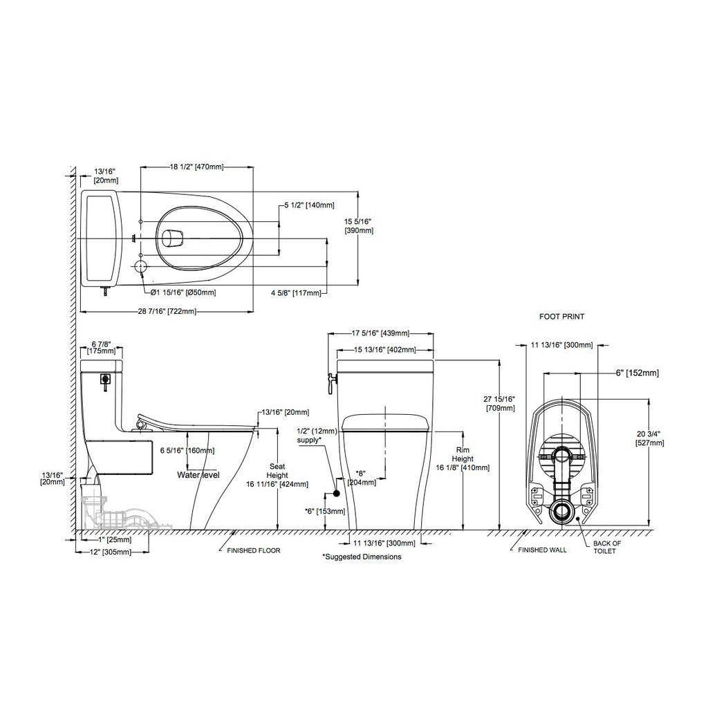Toto TOTO MS626234CEFG Aimes One Piece Elongated Toilet WASHLET Connection Cotton