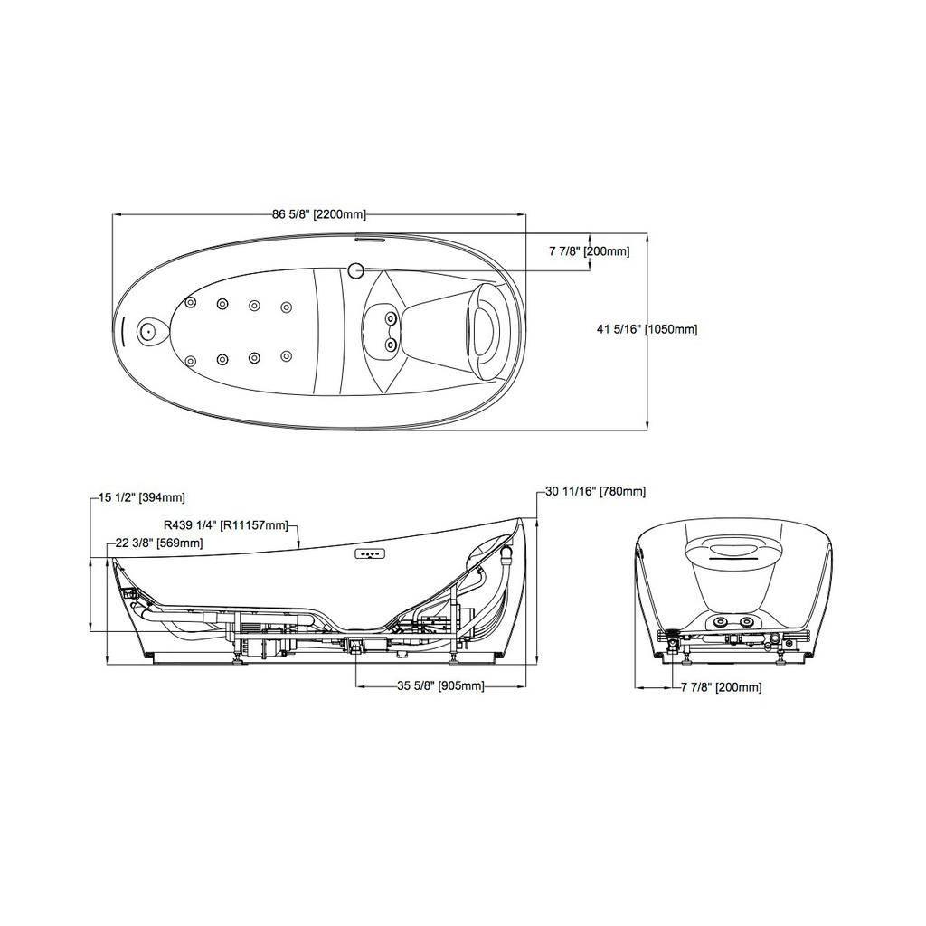 Toto TOTO PJYD2200PWEU Flotation Tub With ZERO DIMENSION White