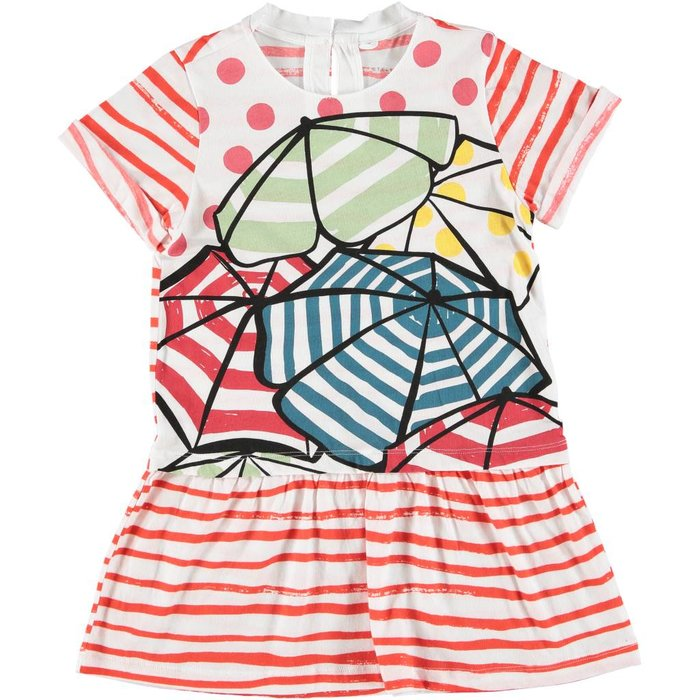 Beach Umbrella Dress White/Red