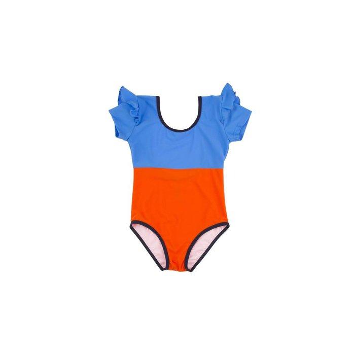 Frills Swimsuit Orange/Blue