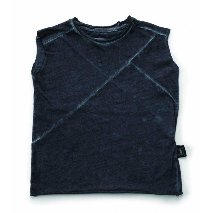 Diagonal Sleeveless Shirt Dyed Graphite