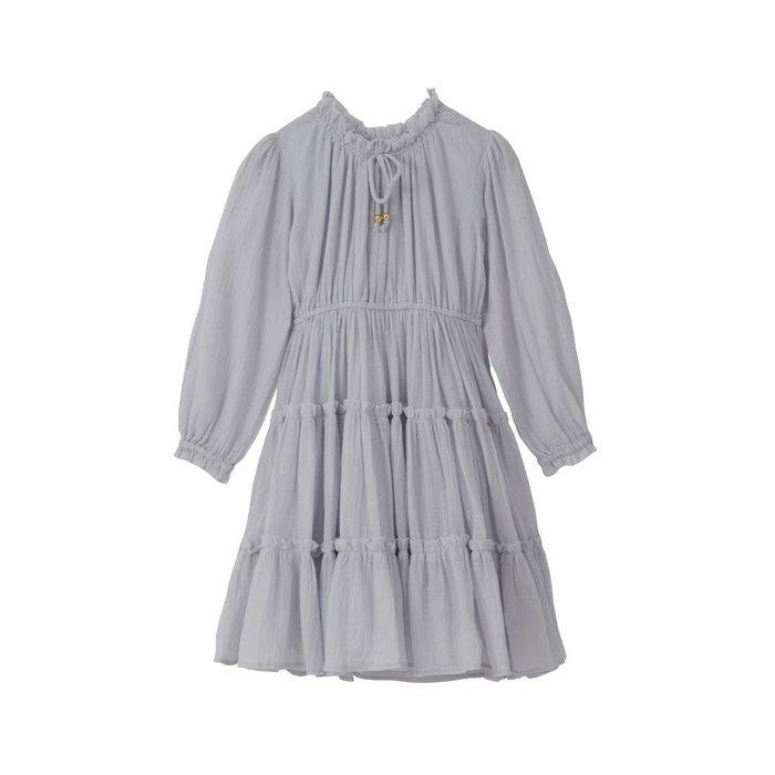 Corrine- Tiered Midi Dress Lilac Cotton