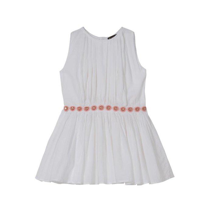 Anila- Pleated Party Dress White Cotton