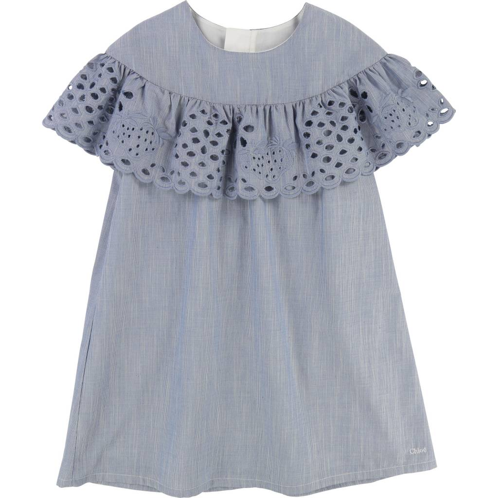 Strawberries Dress Denim Blue