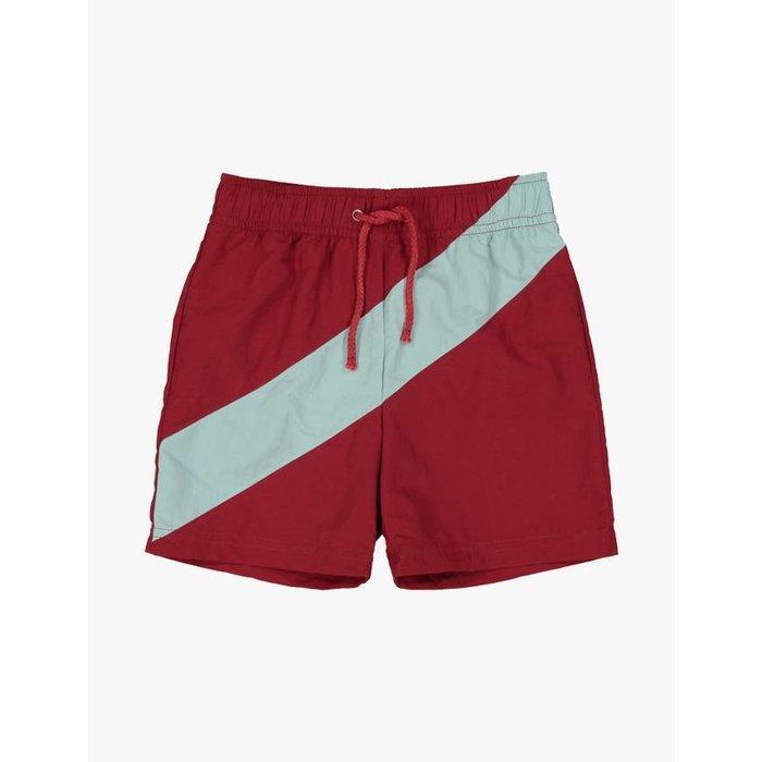 Boys Woven Swim Trunk Red/Grey