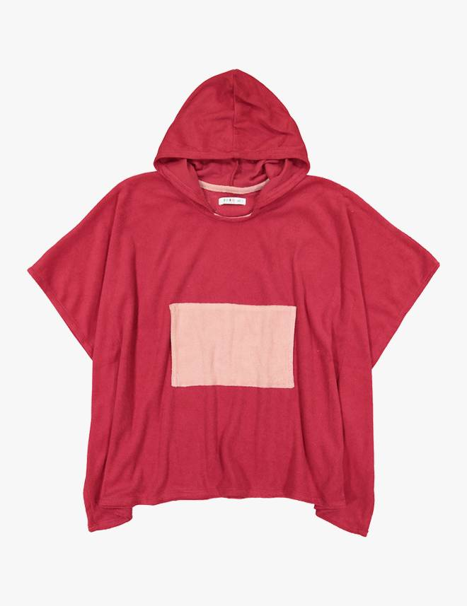 Terry Swim Poncho Red/Muave