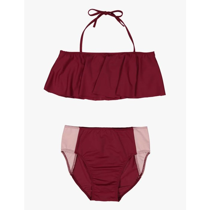 Two Piece Ruffle Swimsuit Red