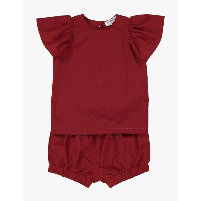 Two Piece Ruffle Set Deep Red