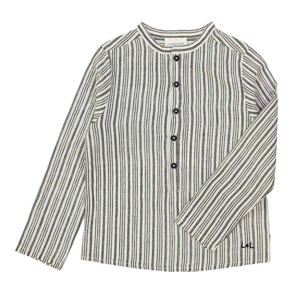 Grand Pere Shirt Black and White Stripes