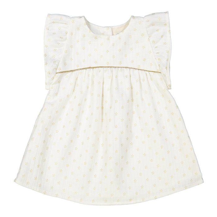 Bettie Dress Long Off White/Gold Dots