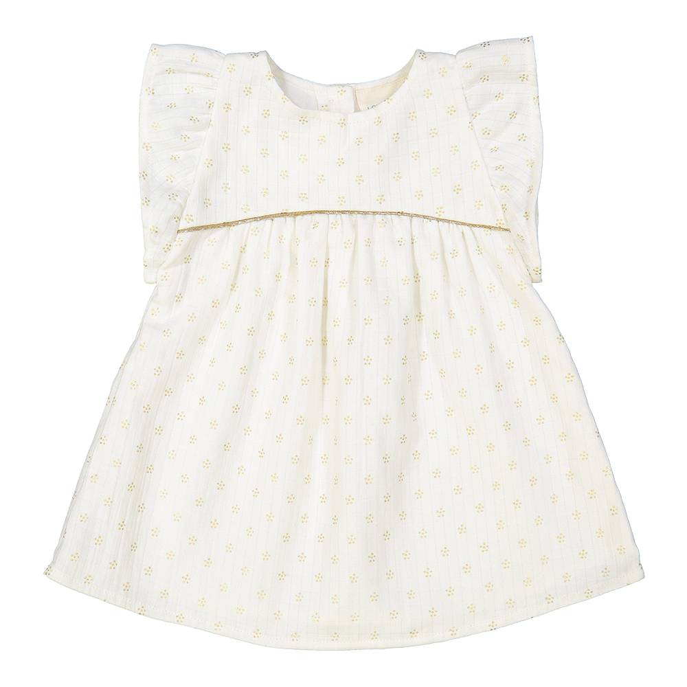 Bettie Dress Long Off White/Gold Dots