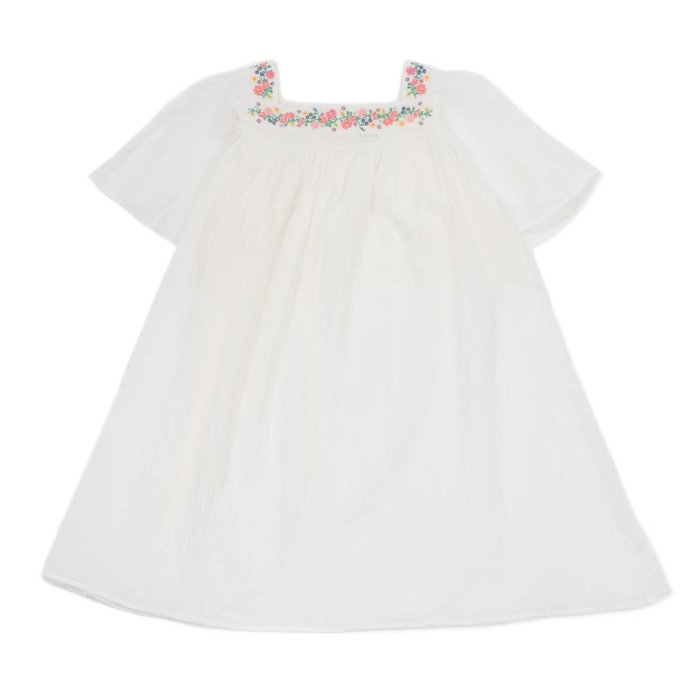 Embroided Crepe Dress Blanc Lai