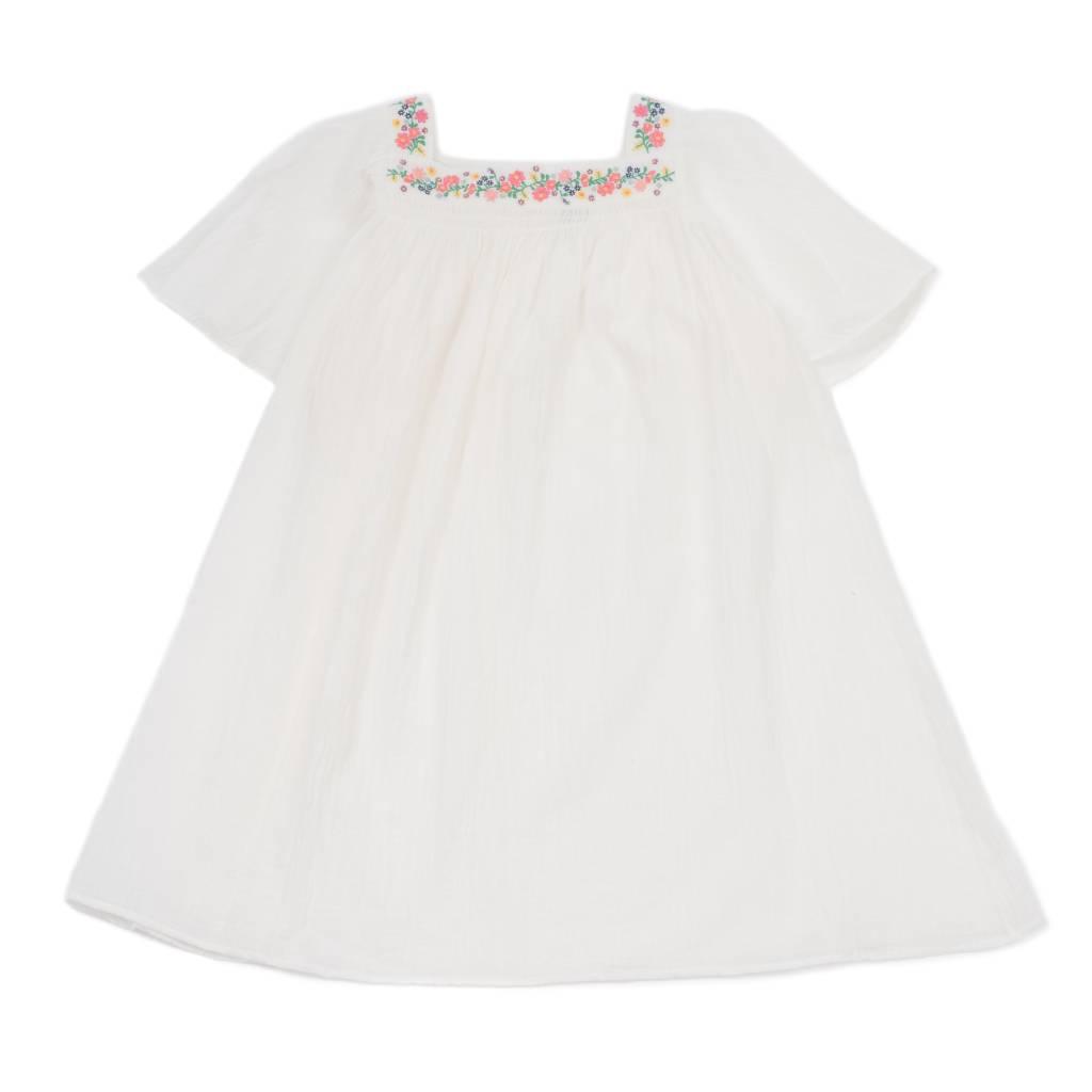 Embroided Crepe Dress Blanc Lai