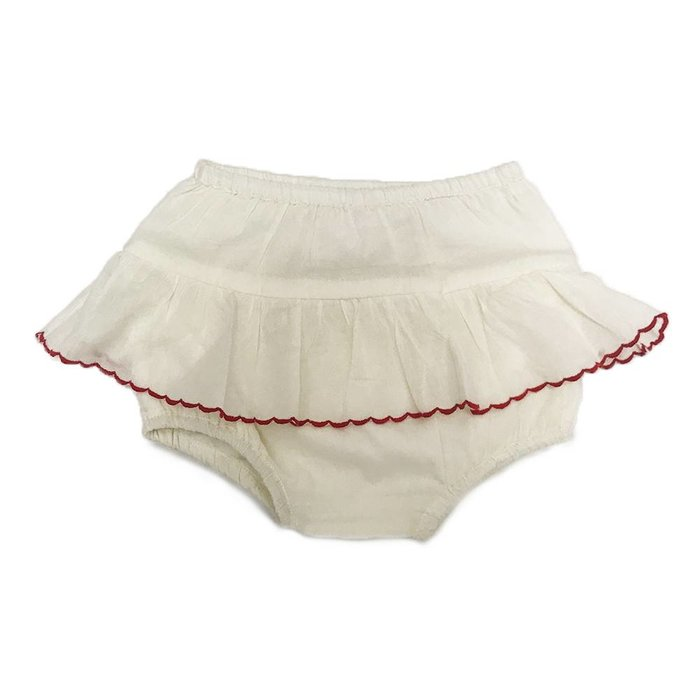 Ginette Bloomer Off White Red Trim/Cotton