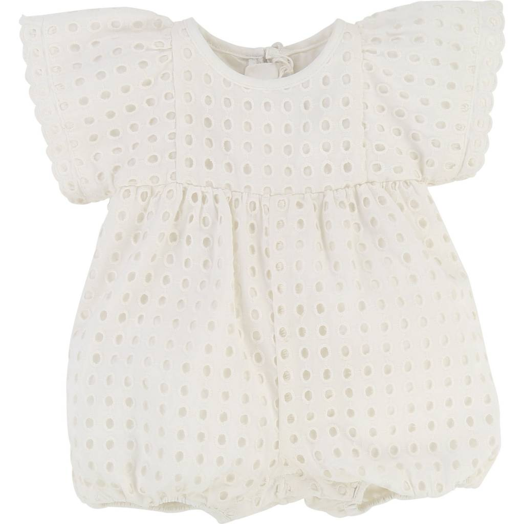 French Ruffle Romper Off White