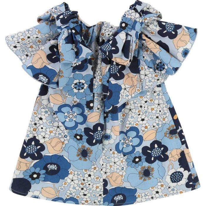 Floral Print Knots Detail Marine Bleu