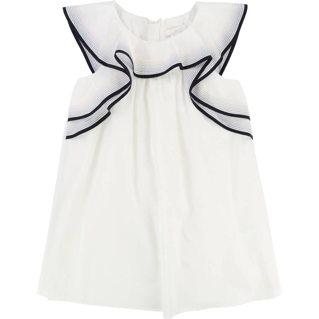 Stitching and Ruffle Dress Off White