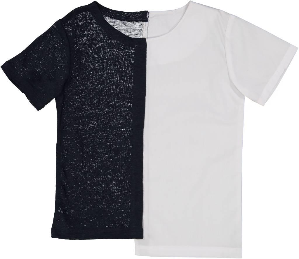 Collarless Shirt with White Cotton Navy