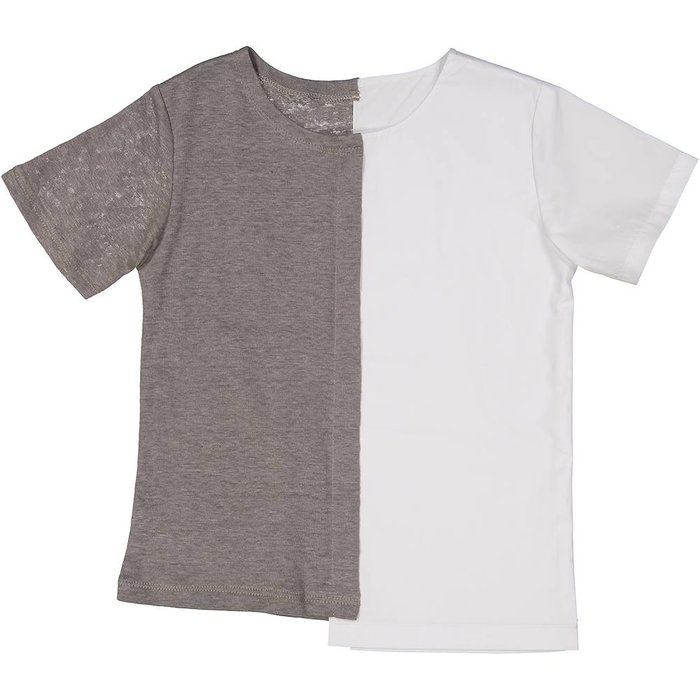 Collarless Shirt with White Cotton Grey