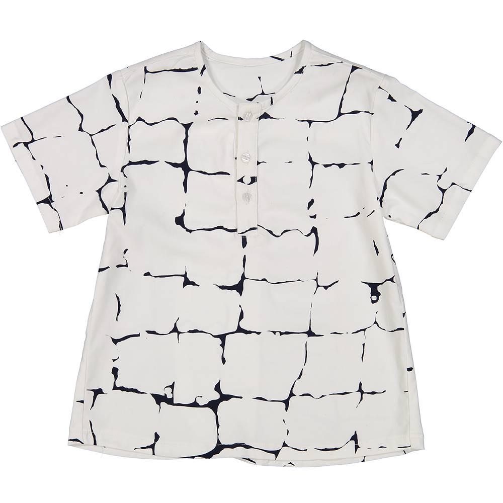 Collarless Shirt with Pocket White
