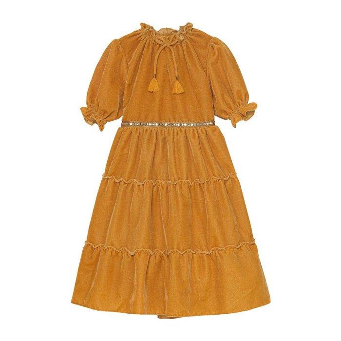 Carolina 3/4 Sleeve Tiered Dress Honey Velvet
