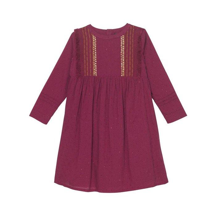 Jasmine Yoke Dress Berry Dobby