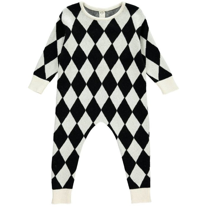 Knit Harlequin Romper Black/Natural