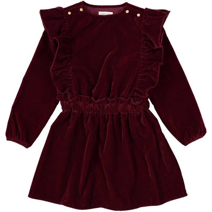 Loulou Dress Velvet Burgundy