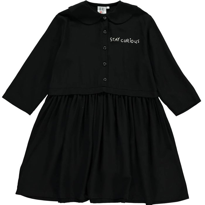 Oversized Collar Dress Black