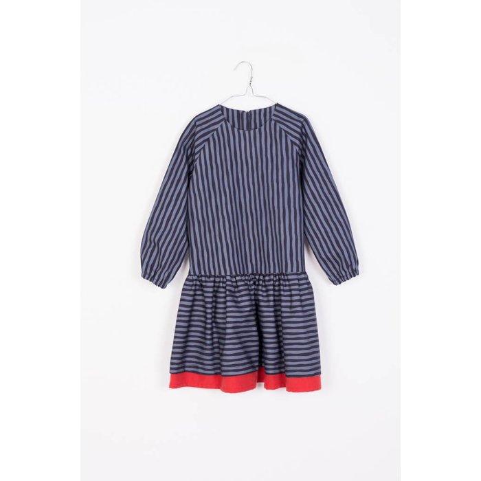 Rubi Dress Blue and Black Stripes