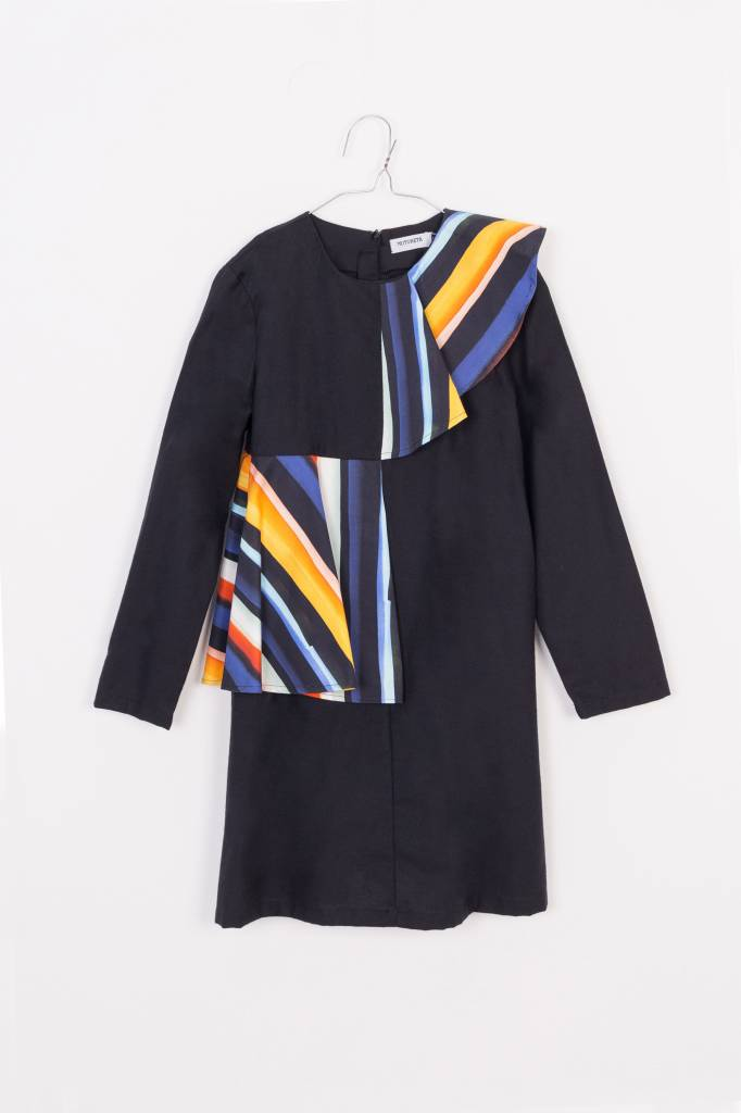 Aina Dress Black and Colour Stripes