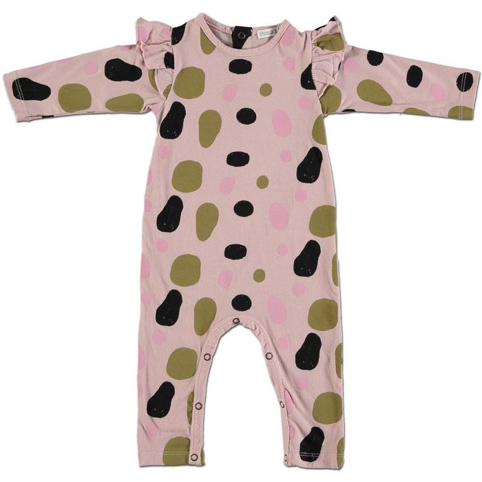 Baby Romper Pink with Gold Dots